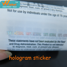 High quality printing hologram sticker label for anti counterfeiting