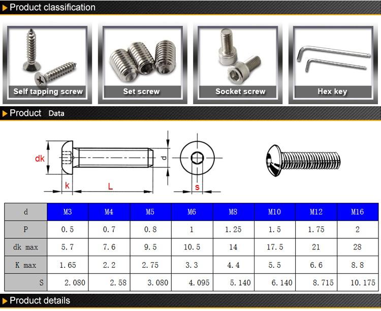 (50 pc/lot) M2,M2.5,M3,M4 *L =4~50mm grade 10.9 class ISO7380 alloy steel Hex socket button head cap screw