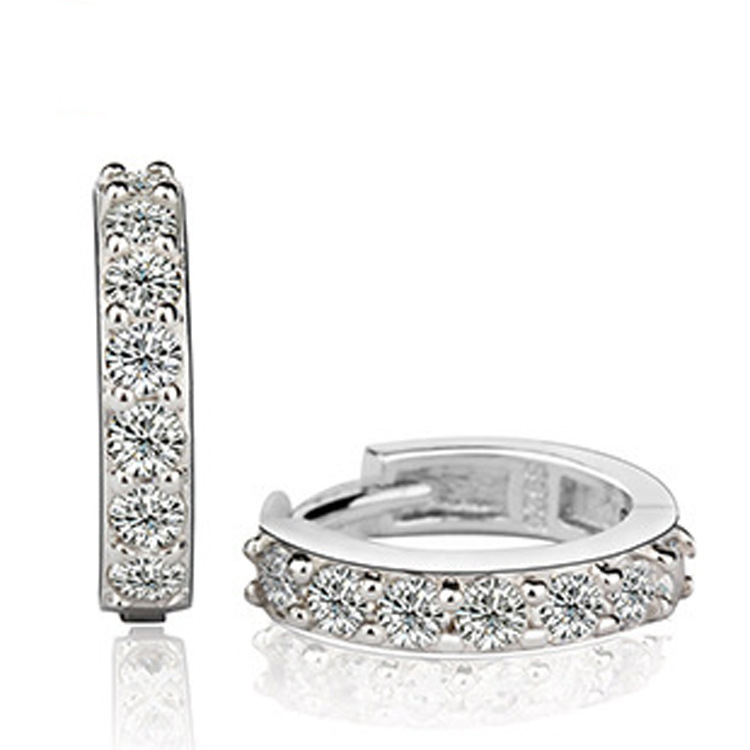 Fashionable cute 925 sterling silver clear cz diamond loop shape women stud <strong>earring</strong>