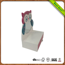 Glossy Mirrored Wooden Owl Jewelry Box With Drawers