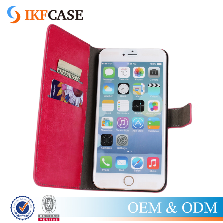 Mobile Phone PU Leather Flip Cover Wallet Case For iPhone 6