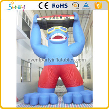outdoor blue advertising inflatable gorilla model with car