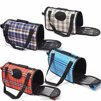 Fashion Plaid Pet Home Travel Dog Cat Puppy Carry Carrier Bag