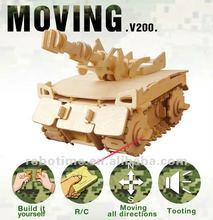 Educational DIY wooden rc tank model toy