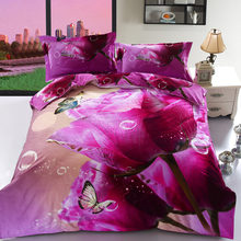 100% cotton bedding <strong>set</strong> 3D flower print reactive printing duvet cover bedsheet the french rose