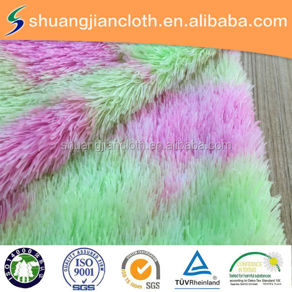 new fashion 100% polyester long pile tie dyed south korea plush toy fabric