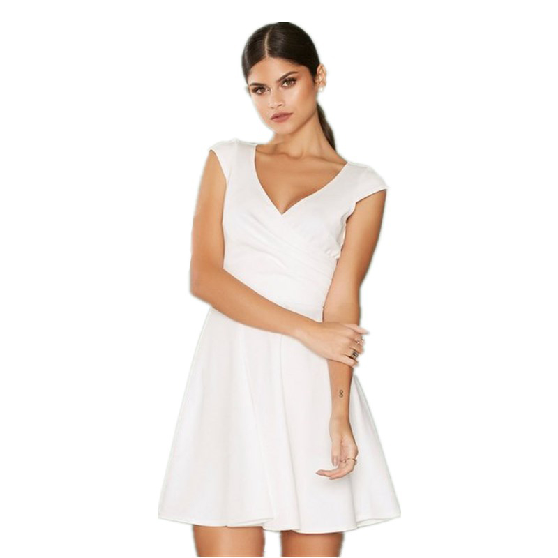 White short casual chiffon dress V neckline summer ruffle baby girls party wear