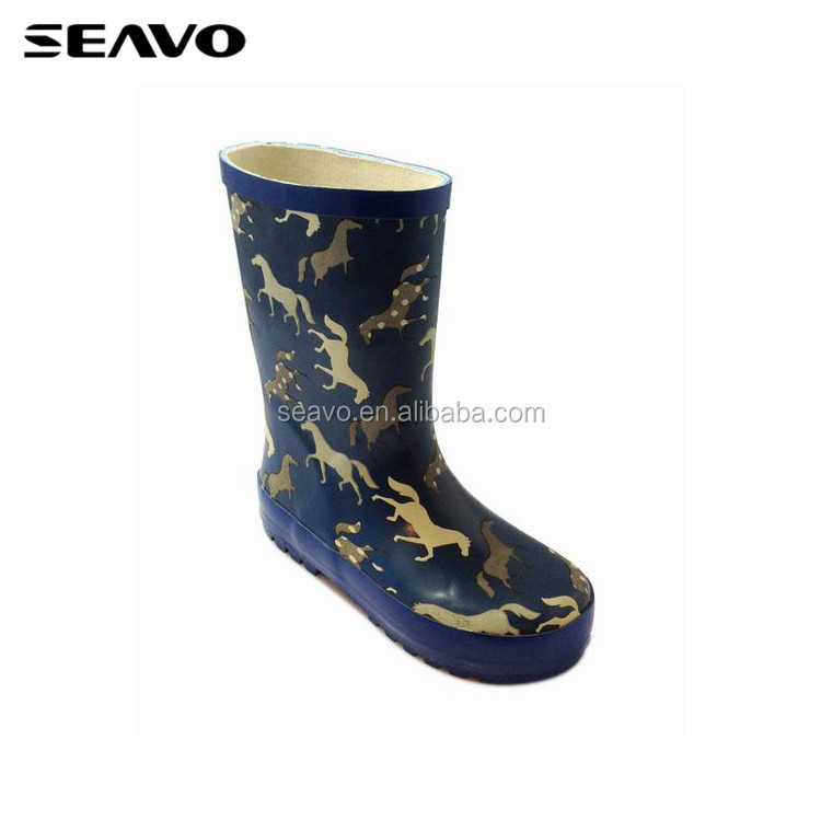 SEAVO SS18 unique sinicism horse printed design waterproof children purple durable rubber rain boots