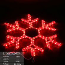 LED snowflake lights flashing color changing rope light christmas snowflake for wall or street decor