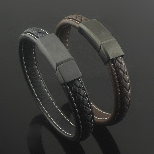 Bracelet Hand Chain For Men Magnetic Cap With Braided Genuine Leather Bangle Bracelet