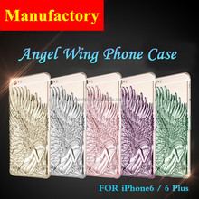 Hot Selling Chrome metal Angel Wing Phone Case for iPhone 6 6s Plus PC case