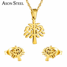 Wholesale Silver/ Gold Color Women Jewelry Sets Cute Tree Design Necklace Pendant + Earrings Pair Set