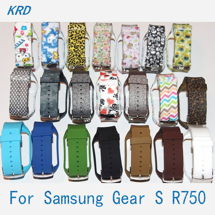 Factory Wholesale High Quality Printed Silicone Bracelet watch Band Strap Wristband For SAMSUNG GEAR S R750 Watch
