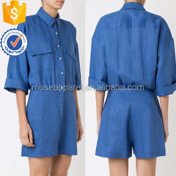 Hot Sale Linen Blue Short Sleeve Sleeve Classic Collar Jumpsuit Women Apparel Wholesaler China Alibaba