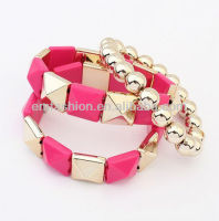 Fashion Gothic Pyramid Beads Stretch Multilayer Bracelet