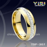 Gold Tungsten Carbide Men's Wedding Ring Band 8mm With White Cubic Zirconia Gems