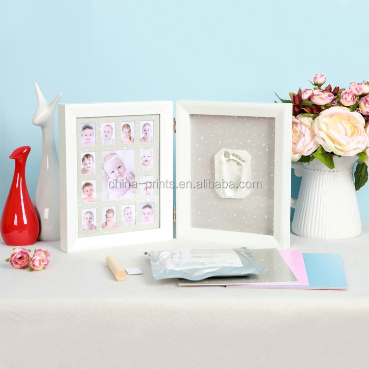 2017 Hot Sale Cute Baby Photo frame DIY handprint or footprint Soft Clay Safe Inkpad non toxic ceremony gift for baby