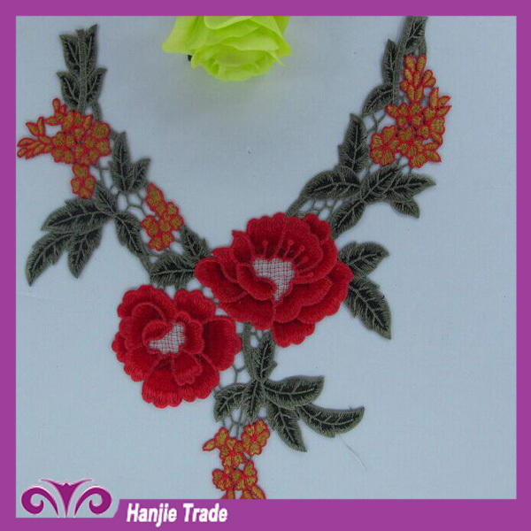 Machine made embroidery lace collar