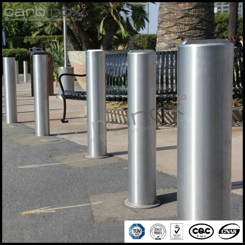 carbinox steel pipe bollard, hairline finish bollard, sus304 grade bollard