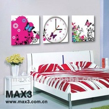 Butterfly MDF Painting Art Square Photo Frame Modern Wall Clock For Bedroom/ Living Room