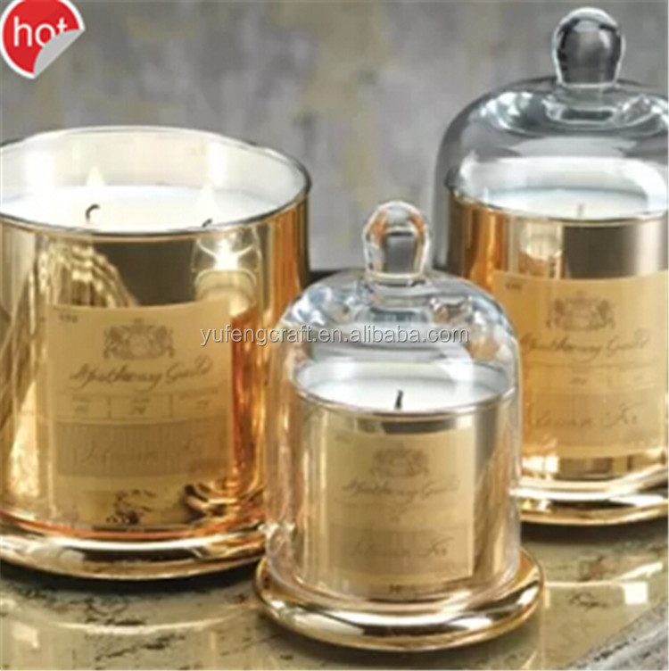 online sale / round dome glass candelbra for candle making home decor containers for candle