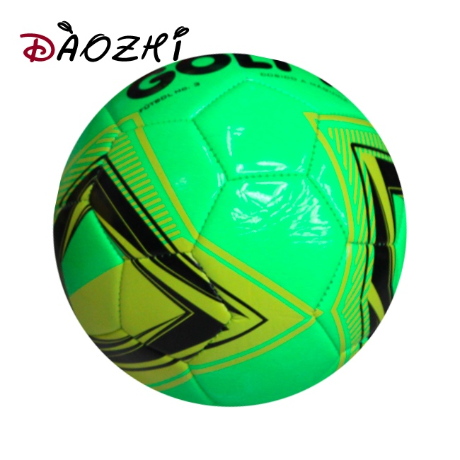 green pvc machine sewn ballleather size 5 football/soccer