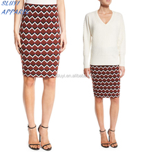 Geometric High-Waist Pencil Multicolor Skirt,ghana celebrities up skirt,Ladies Office Suit Cotton wool Fitted pencil Skirt
