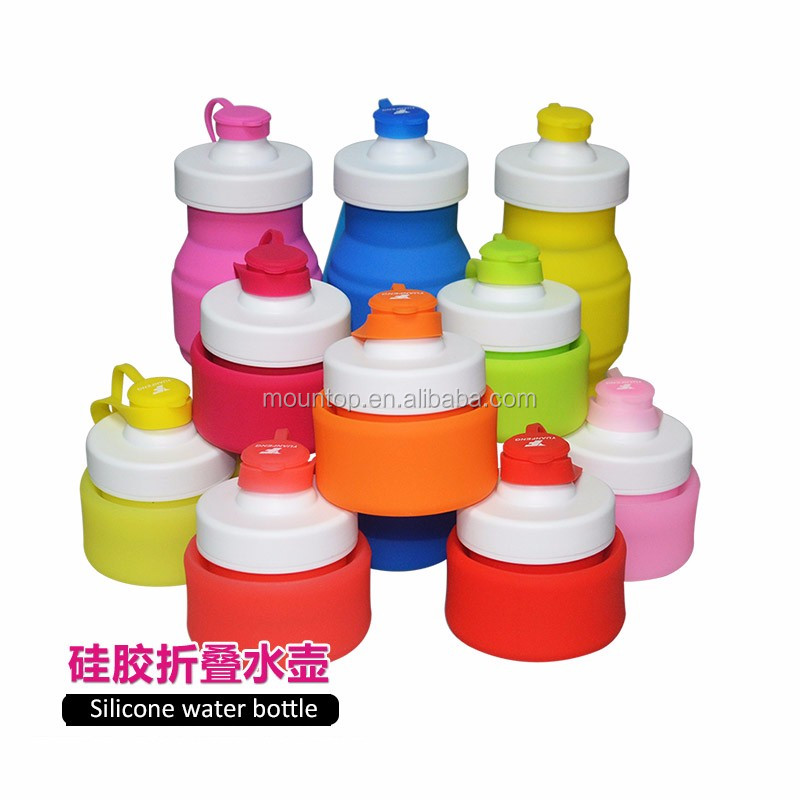 350ml foldable silicone drink bottle portable new kid water bottle for lunchbox