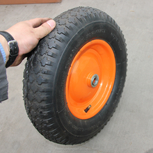 "china manufacturer 16"" small pneumatic rubber wheel 4.00 - 8 with inner tube for hand truck and wheel barrow"