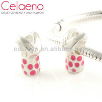 Handmade chinese dress with pink dot sterling silver new charm jewelry