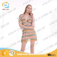 Wholesale floral stripe designs sex women beach dress girls cover up