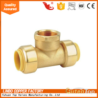 "LinBo LBA 1/2"" brass lead free TEE STUD MALE BRASS,ELBOW FEMALE COPPER,NODULAR IRON CLAMP"