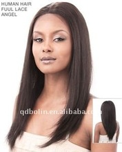 DARK BROWN LONG STRAIGHT 100% INDIAN HUMAN HAIR LACE WIGS 16INCH