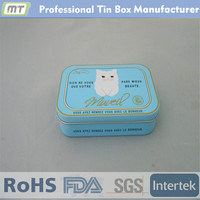 Small rectangular aluminum tin case for cosmetic package