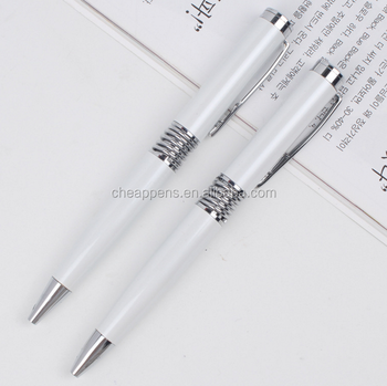 Promotional white oily rotation metal pen customized printing logo