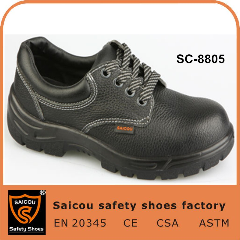 Double density PU breathable buffalo leather mens steel toe safety shoes factory SC-8805