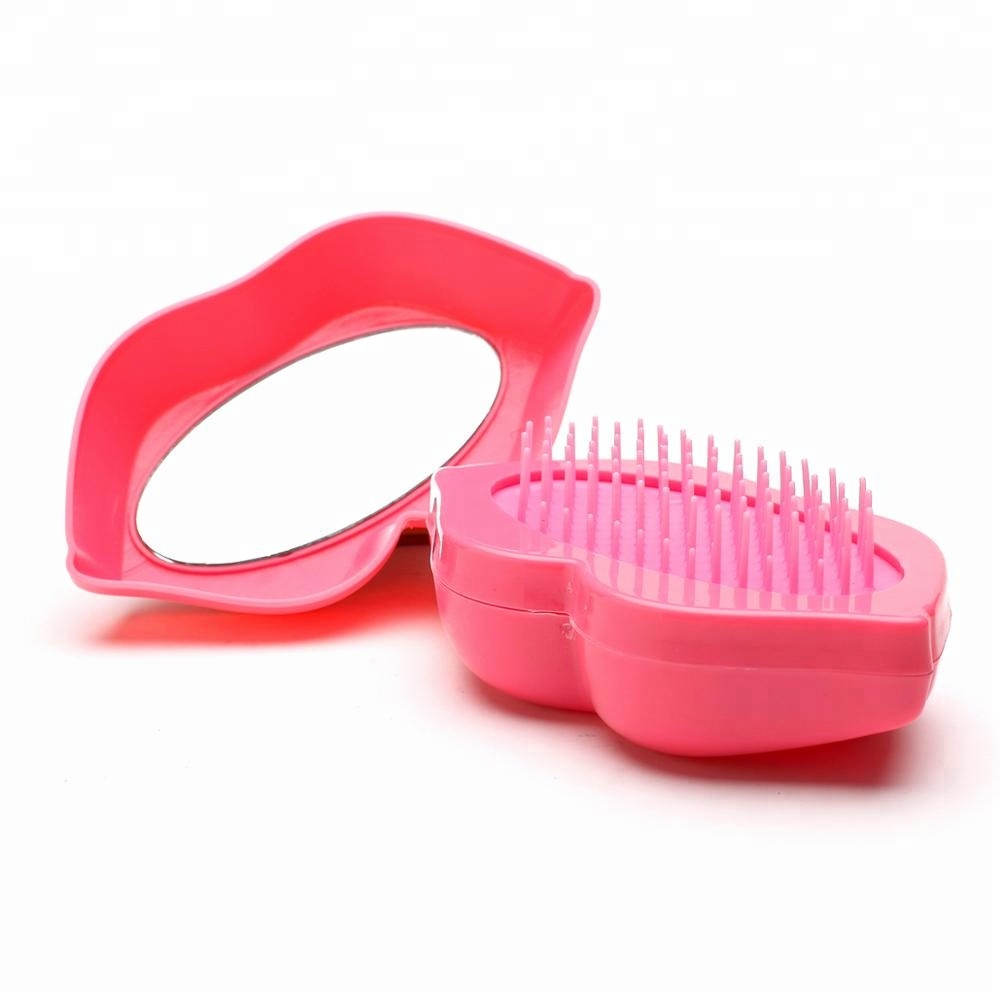 new type Lip shape personalized Detangling hair brushes with mirror .jpg