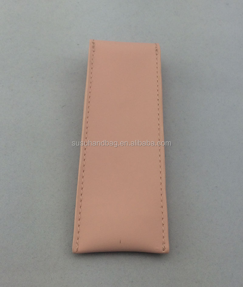 Pink Single PU Leather Pen Holder