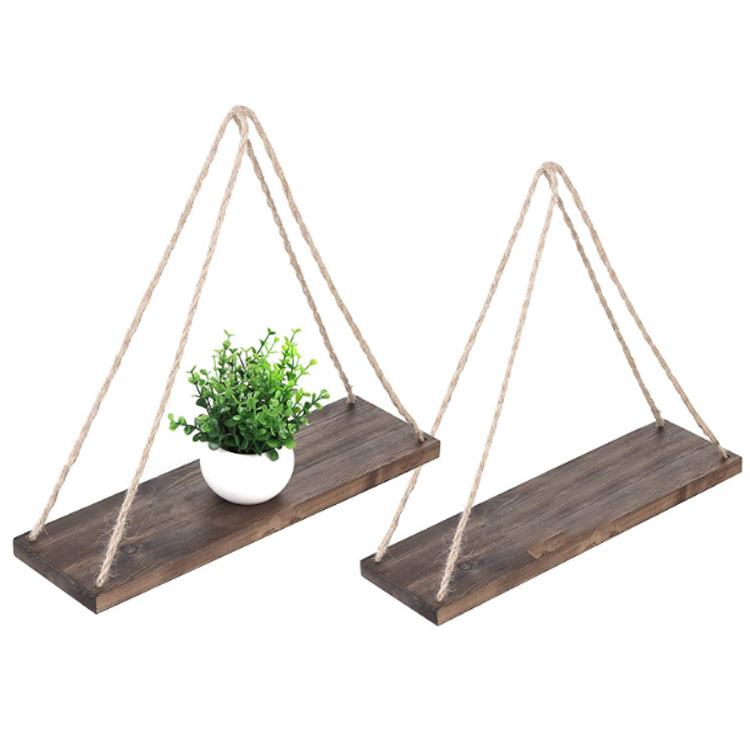 Modern Hanging Swing Rope Floating Solid Wood <strong>Shelf</strong> for Plants