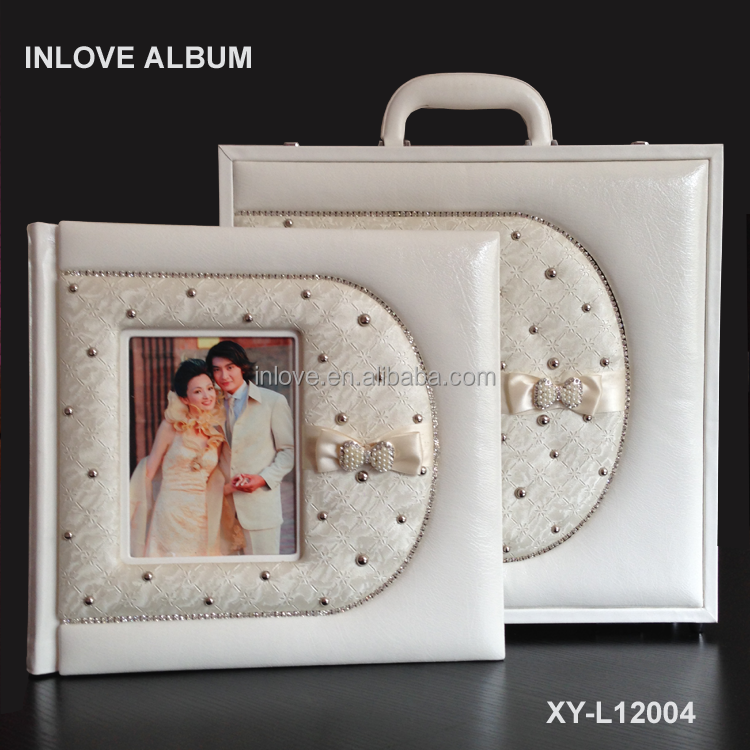 unique style white 12x12 leather digital wedding album cover design