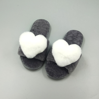 High quality new girls fancy sheepskin bedroom floor plush plain slippers