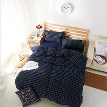 Pure washable cotton grid bed sheet four pieces