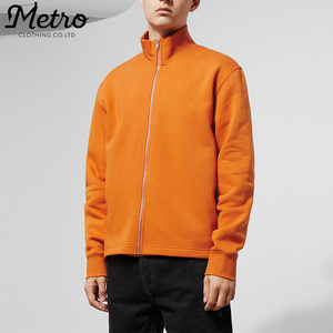 Mens relaxed fit high neck zip up sweatshirts no hood