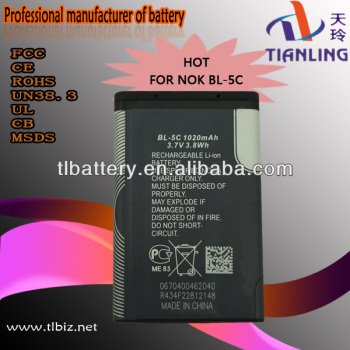 bl-5c 3.7v 1020mah cell phone battery for nokia
