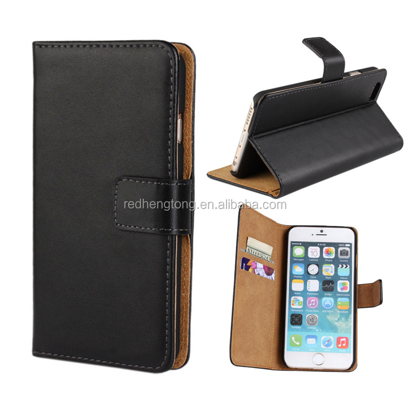 Good quality genuine leather flip wallet cell mobile phone case for iphone 7