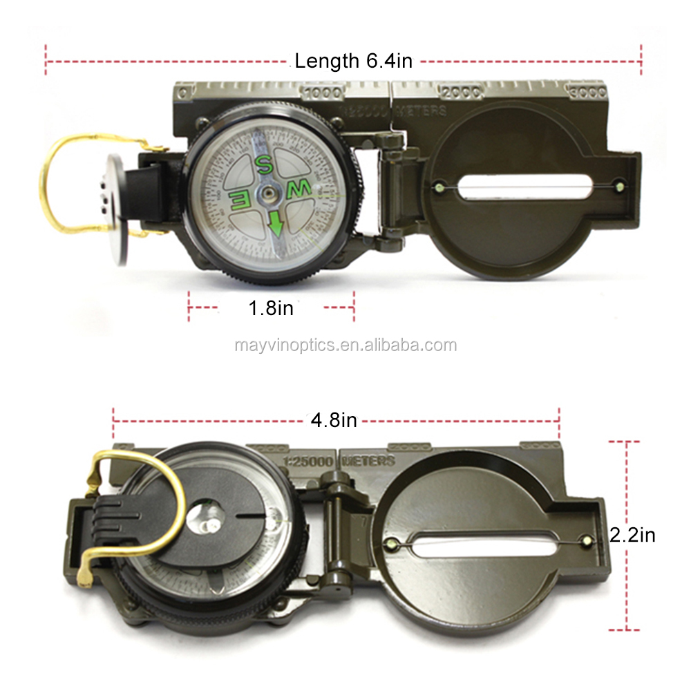 Metal Case Lensatic Multifunctional Military Watch Pocket Compass