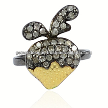 Single Cut Natural Diamond Studded Strawberry Shaped Designer Mid Ring Wholesale Handmade Jewelry