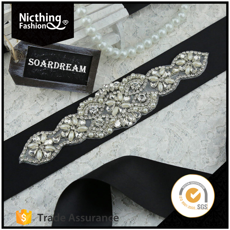 Decorative fashion beaded pearl rhinestone applique wedding sash belt NRA109