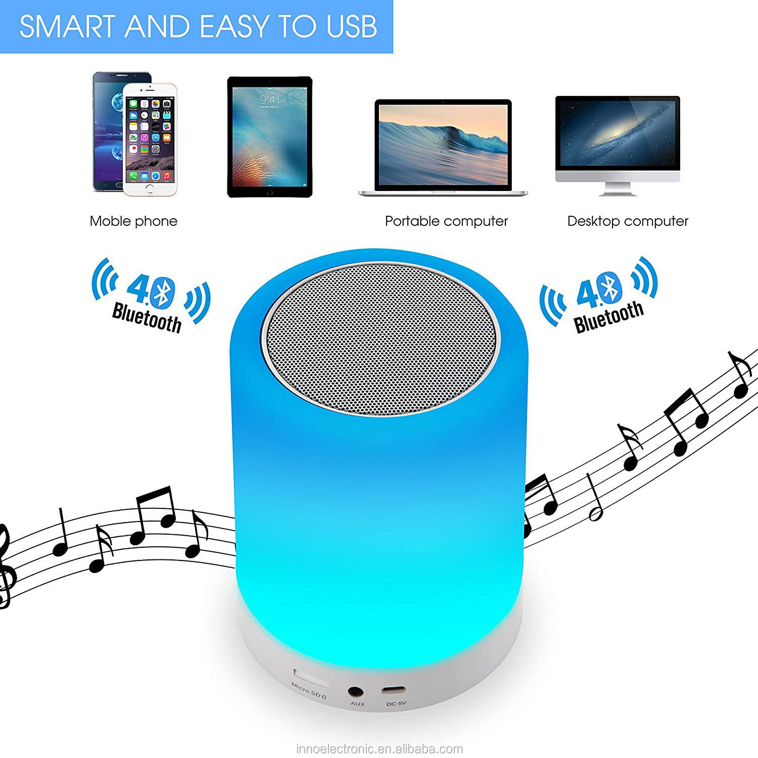 Light Up Bluetooth Portable Musical Player by Collections Etc