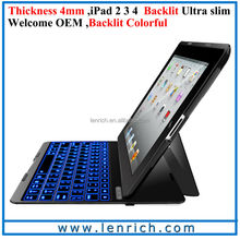 LBK186 Ultra Kee F4S For iPad 2 3 4 Case With Keyboard,Super Slim Bluetooth LED backlit Keyboard For iPad 2 3 4